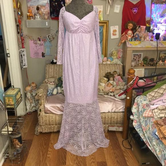 "Dresses & Skirts - maxi length lavender lace trail dress  length 58"""
